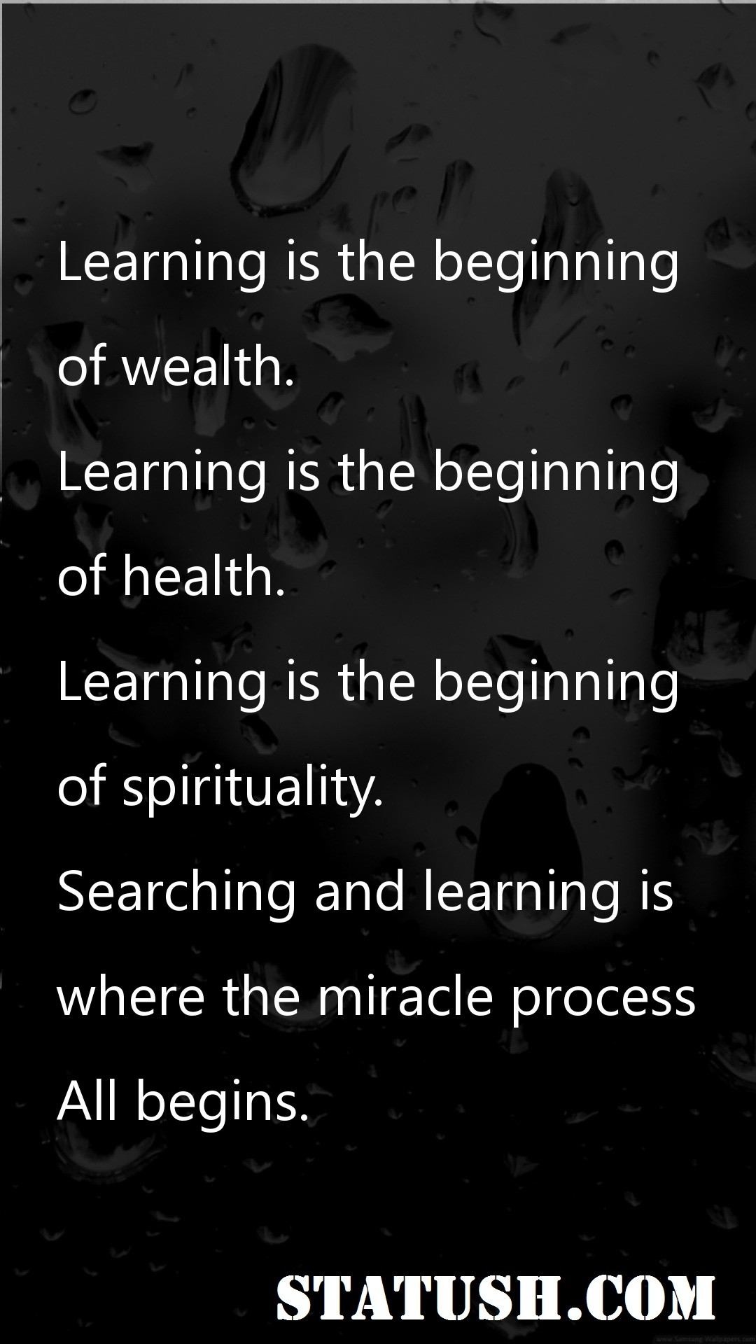 Learning is the beginning