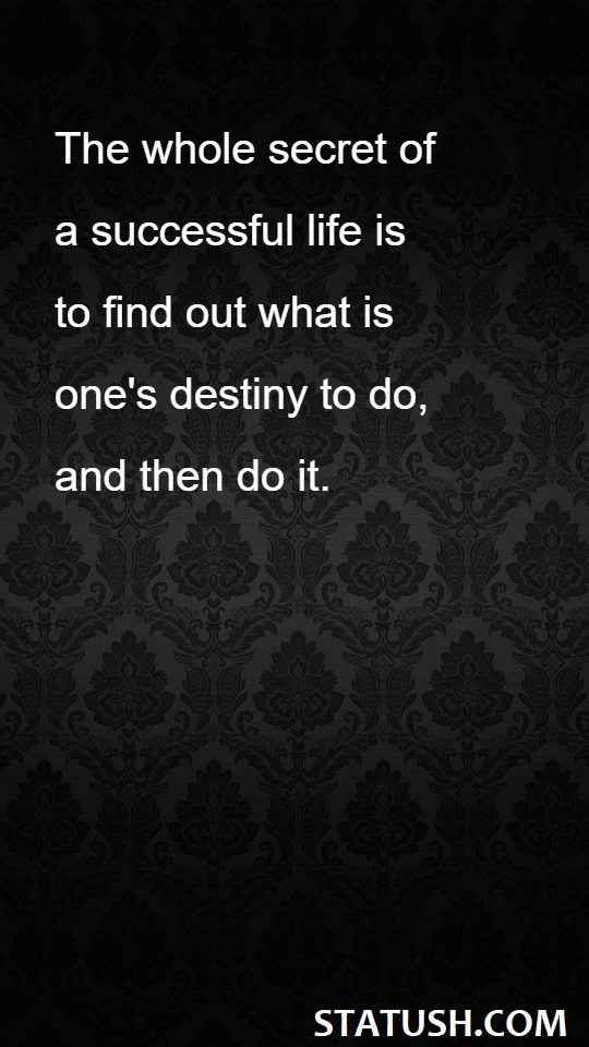 The whole secret of a successfull