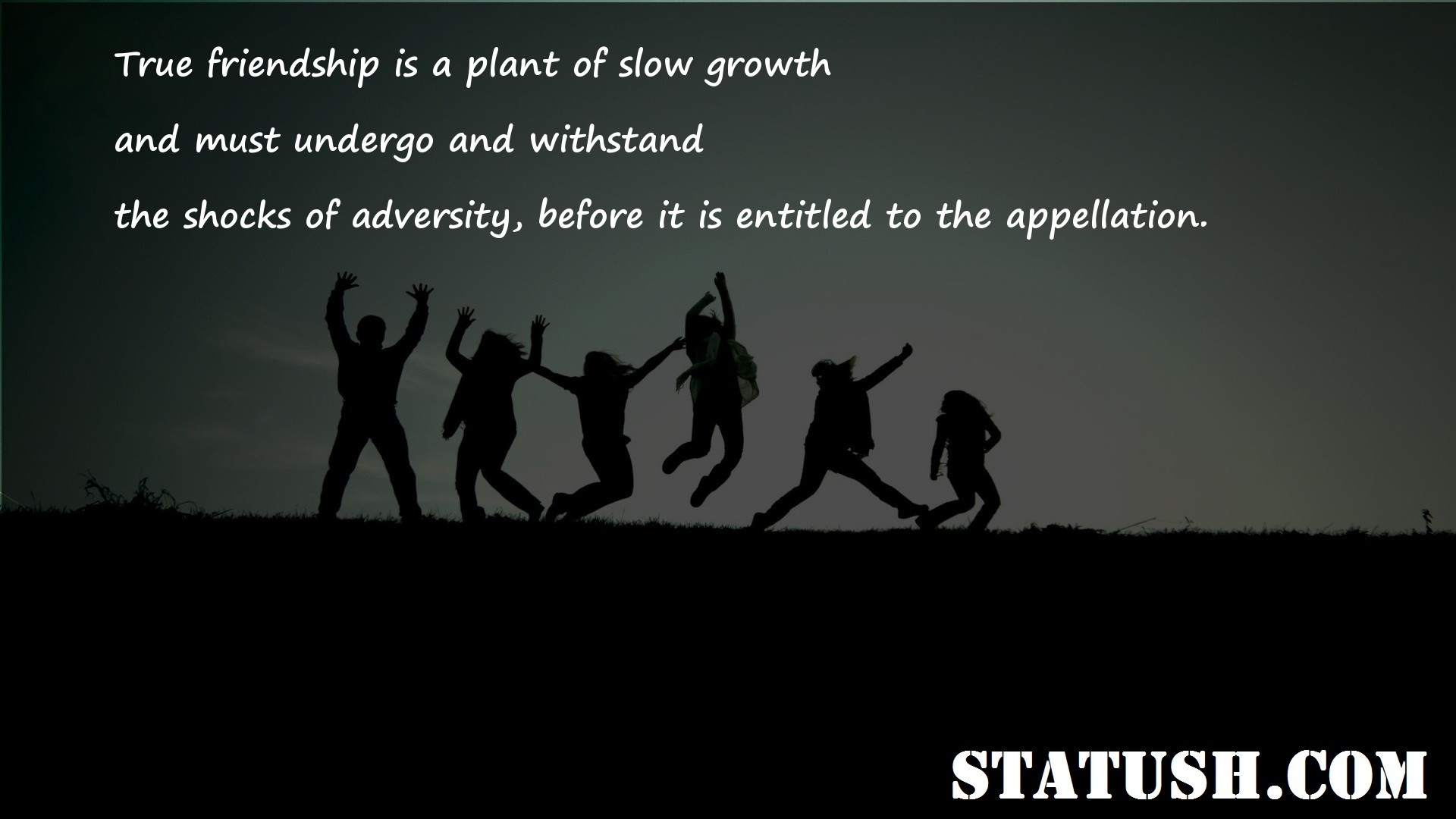 True friendship is a plant of slow growth