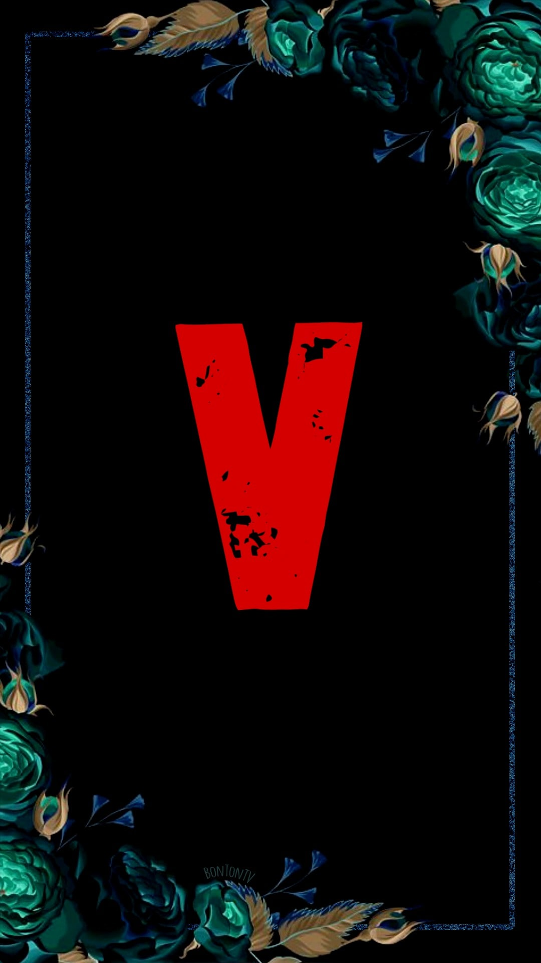 V Alphabet in Red