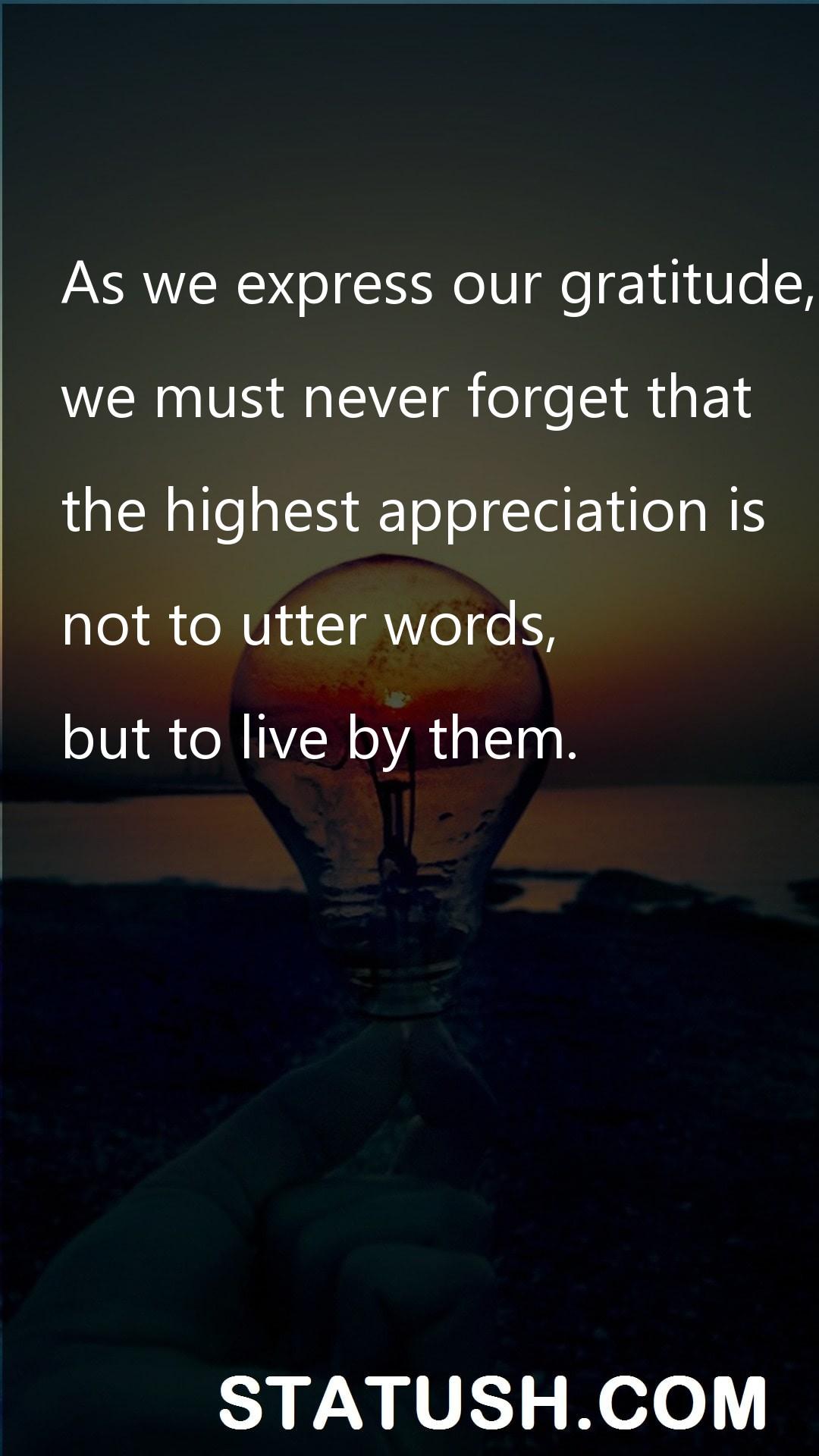 As we express our gratitude